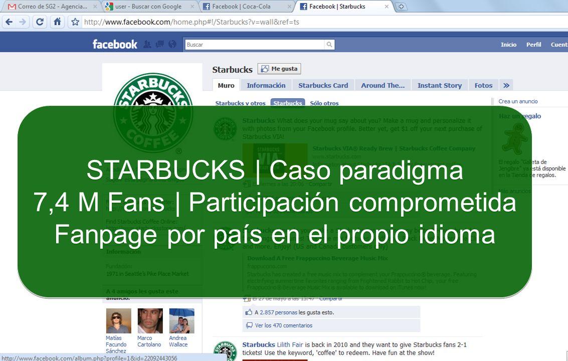 STARBUCKS | Caso paradigma 7,4 M Fans | Participación comprometida Fanpage por país en el propio idioma STARBUCKS | Caso paradigma 7,4 M Fans | Partic