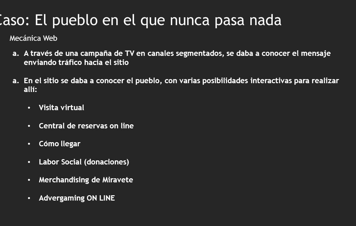 Mecánica Web Caso: El pueblo en el que nunca pasa nada a.A través de una campaña de TV en canales segmentados, se daba a conocer el mensaje enviando t