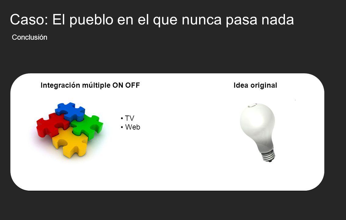 Conclusión Integración múltiple ON OFF TV Web Caso: El pueblo en el que nunca pasa nada Idea original