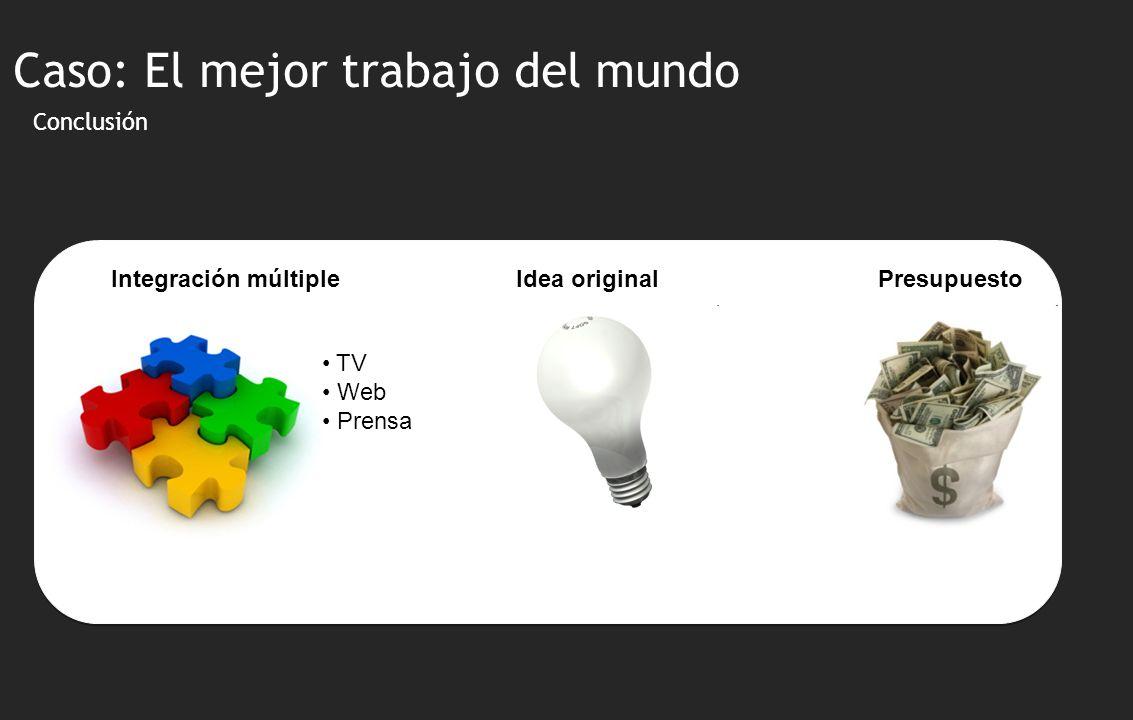 Conclusión Integración múltiple TV Web Prensa Idea original Caso: El mejor trabajo del mundo Presupuesto