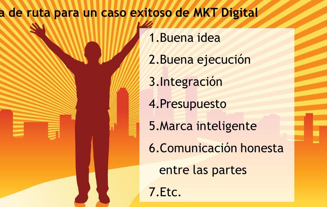 Hoja de ruta para un caso exitoso de MKT Digital 1.Buena idea 2.Buena ejecución 3.Integración 4.Presupuesto 5.Marca inteligente 6.Comunicación honesta entre las partes 7.Etc.
