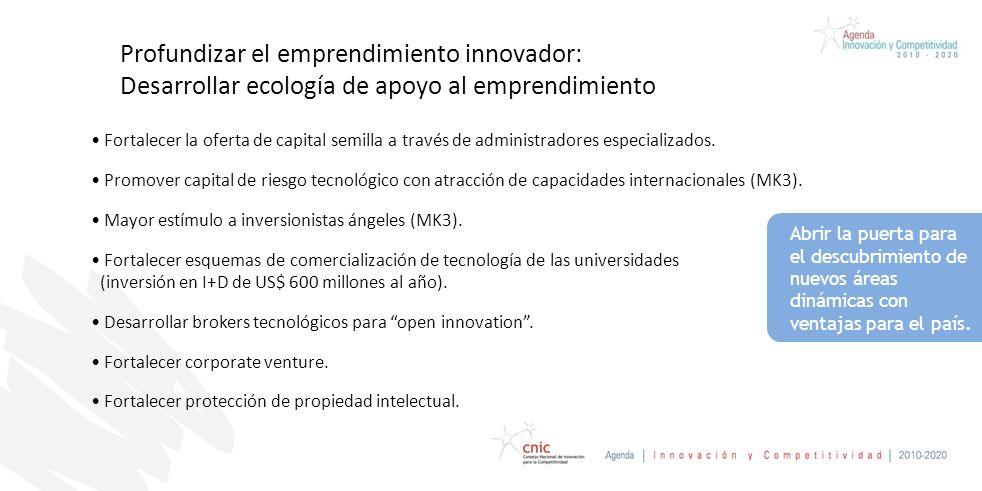 Profundizar el emprendimiento innovador: Desarrollar ecología de apoyo al emprendimiento Fortalecer la oferta de capital semilla a través de administradores especializados.