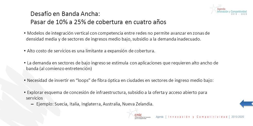 Desafío en Banda Ancha: Pasar de 10% a 25% de cobertura en cuatro años Modelos de integración vertical con competencia entre redes no permite avanzar en zonas de densidad media y de sectores de ingresos medio bajo, subsidio a la demanda inadecuado.