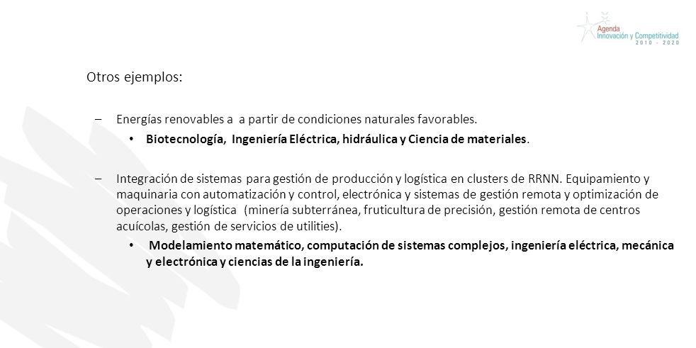 Otros ejemplos: –Energías renovables a a partir de condiciones naturales favorables.