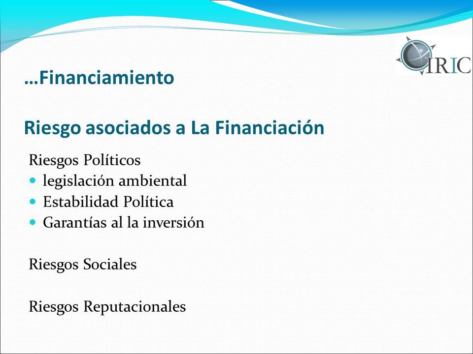 …Financiamiento Riesgo asociados a La Financiación Riesgos Políticos legislación ambiental Estabilidad Política Garantías al la inversión Riesgos Sociales Riesgos Reputacionales