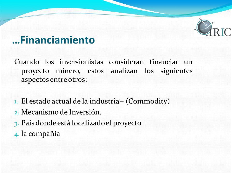 …Financiamiento Cuando los inversionistas consideran financiar un proyecto minero, estos analizan los siguientes aspectos entre otros: 1. El estado ac