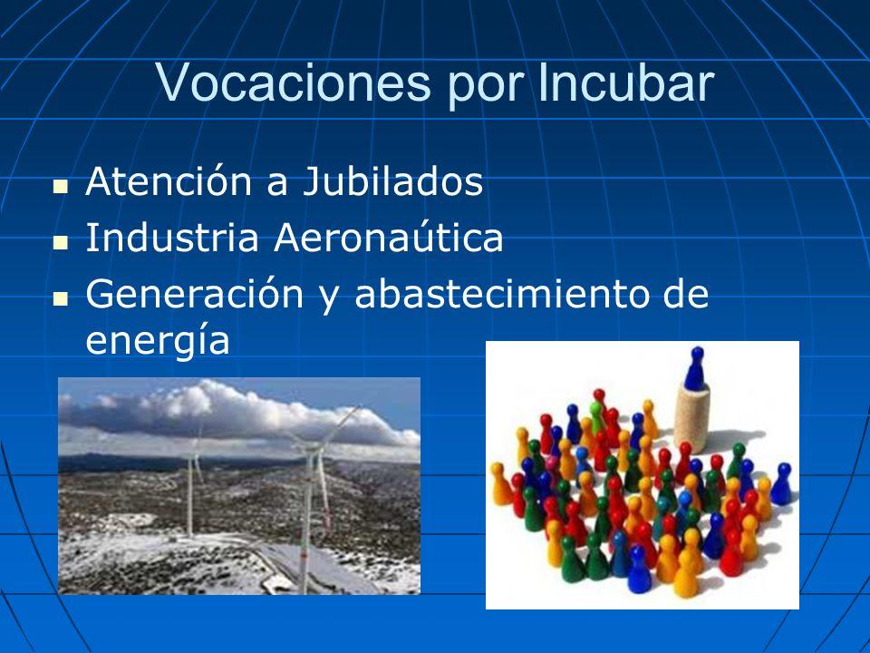 Vocaciones por Incubar Atención a Jubilados Industria Aeronaútica Generación y abastecimiento de energía