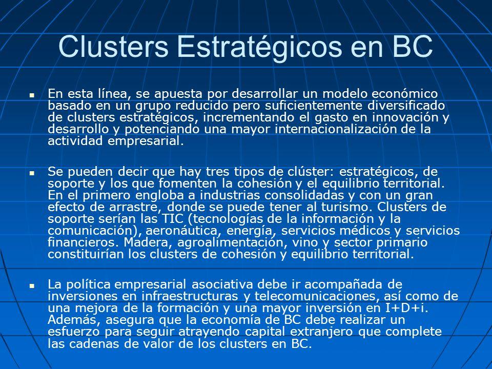 Clusters Estratégicos en BC En esta línea, se apuesta por desarrollar un modelo económico basado en un grupo reducido pero suficientemente diversificado de clusters estratégicos, incrementando el gasto en innovación y desarrollo y potenciando una mayor internacionalización de la actividad empresarial.