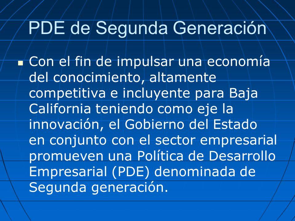 PDE de Segunda Generación Con el fin de impulsar una economía del conocimiento, altamente competitiva e incluyente para Baja California teniendo como eje la innovación, el Gobierno del Estado en conjunto con el sector empresarial promueven una Política de Desarrollo Empresarial (PDE) denominada de Segunda generación.