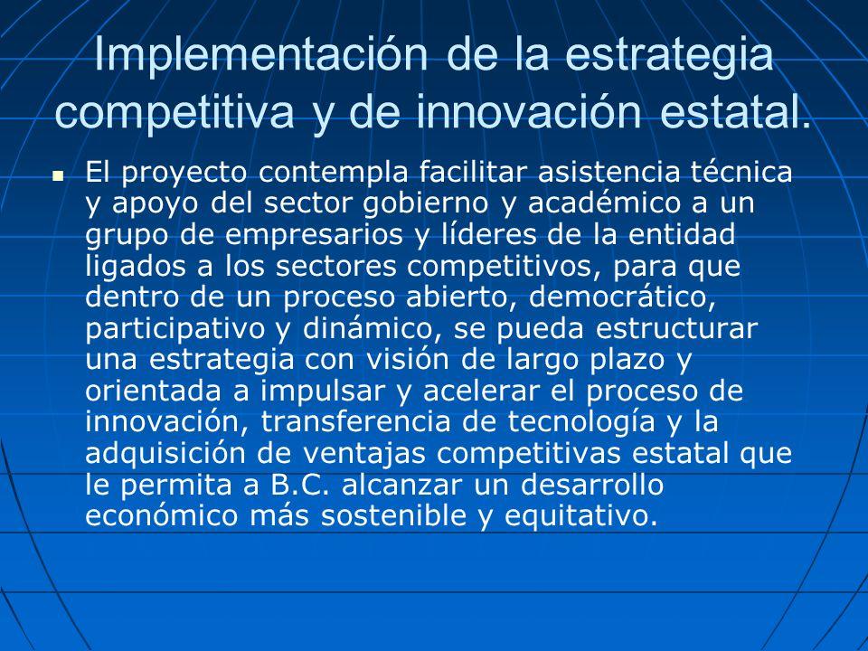 Implementación de la estrategia competitiva y de innovación estatal.