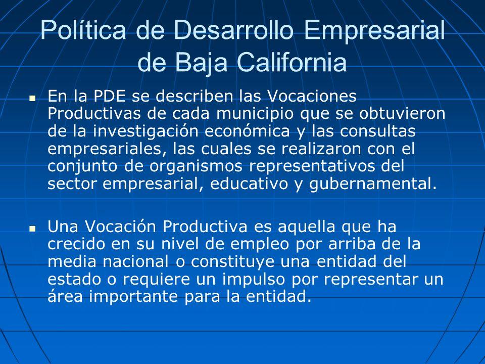 Política de Desarrollo Empresarial de Baja California Las vocaciones se dividen en: razonables, por impulsar y por incubar.