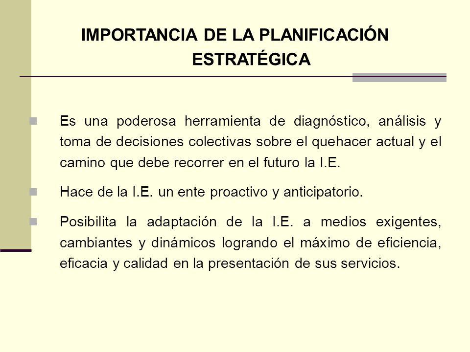 IMPORTANCIA DE LA PLANIFICACIÓN ESTRATÉGICA Es una poderosa herramienta de diagnóstico, análisis y toma de decisiones colectivas sobre el quehacer actual y el camino que debe recorrer en el futuro la I.E.