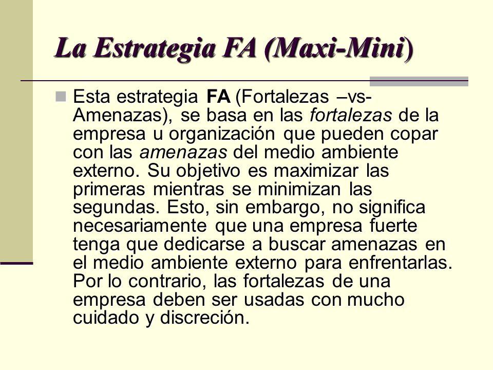 La Estrategia FA (Maxi-Mini) Esta estrategia FA (Fortalezas –vs- Amenazas), se basa en las fortalezas de la empresa u organización que pueden copar con las amenazas del medio ambiente externo.