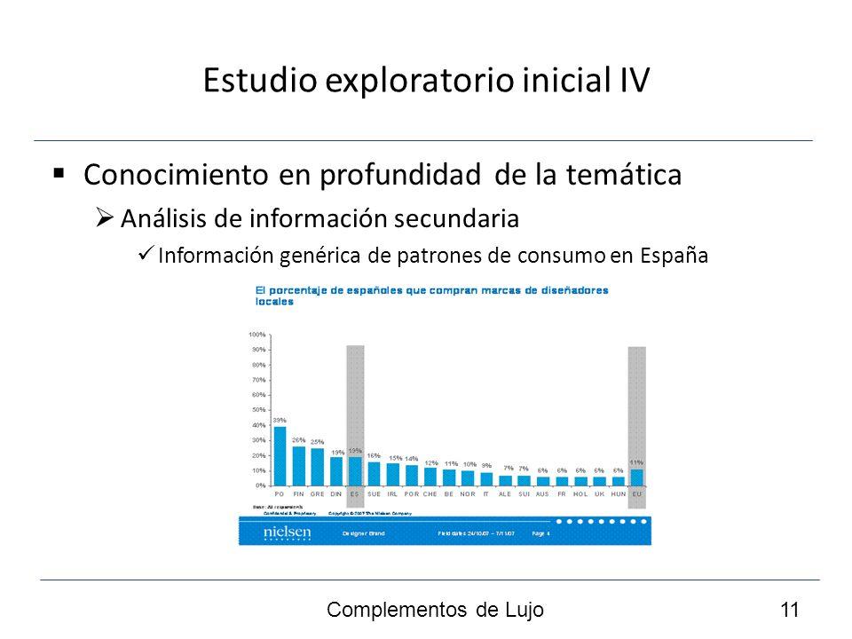 Estudio exploratorio inicial IV Conocimiento en profundidad de la temática Análisis de información secundaria Información genérica de patrones de consumo en España Complementos de Lujo 11