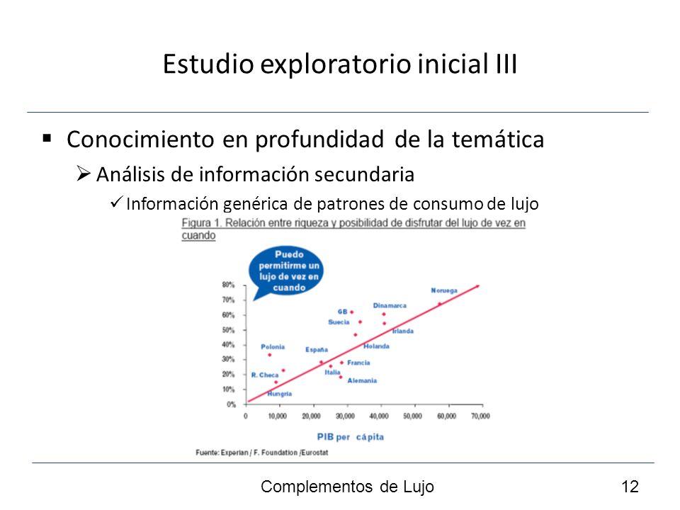 Estudio exploratorio inicial III Conocimiento en profundidad de la temática Análisis de información secundaria Información genérica de patrones de consumo de lujo Complementos de Lujo 12