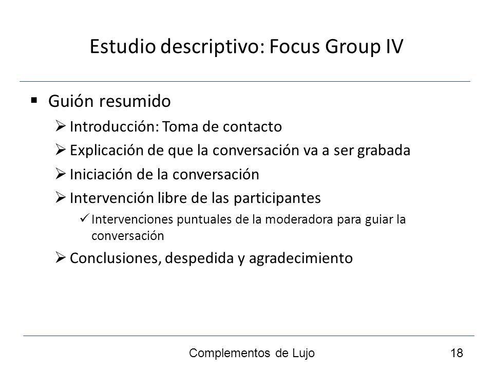 Estudio descriptivo: Focus Group IV Guión resumido Introducción: Toma de contacto Explicación de que la conversación va a ser grabada Iniciación de la conversación Intervención libre de las participantes Intervenciones puntuales de la moderadora para guiar la conversación Conclusiones, despedida y agradecimiento Complementos de Lujo 18