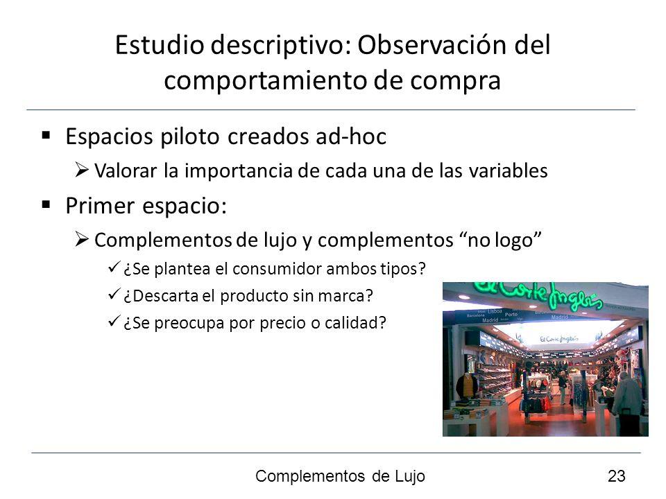 Estudio descriptivo: Observación del comportamiento de compra Espacios piloto creados ad-hoc Valorar la importancia de cada una de las variables Primer espacio: Complementos de lujo y complementos no logo ¿Se plantea el consumidor ambos tipos.