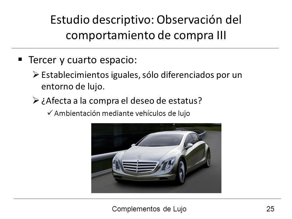 Estudio descriptivo: Observación del comportamiento de compra III Tercer y cuarto espacio: Establecimientos iguales, sólo diferenciados por un entorno de lujo.