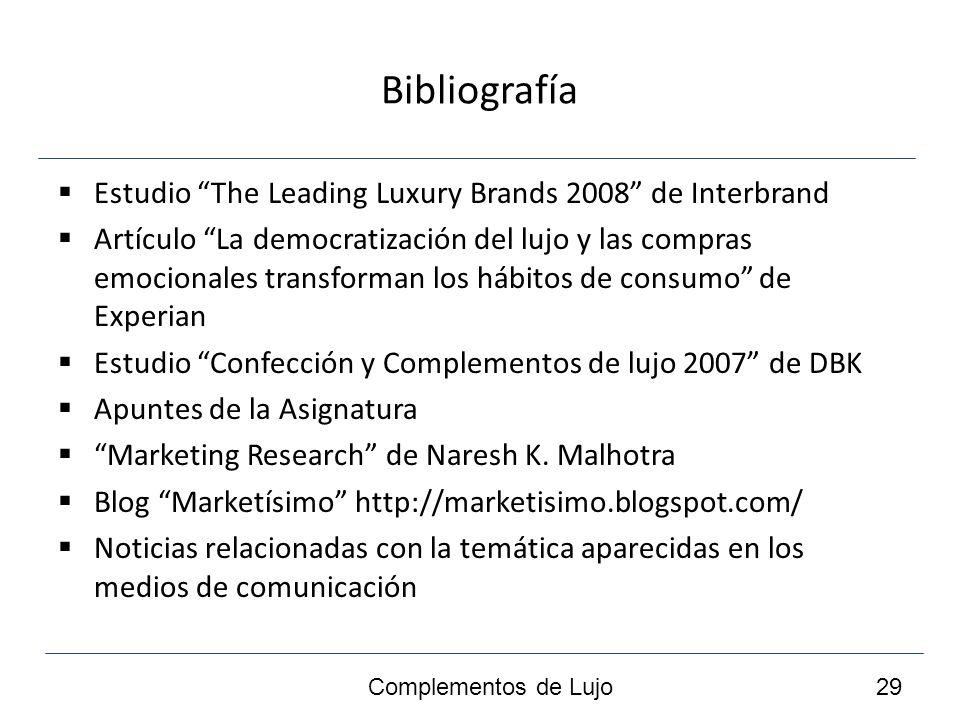 Bibliografía Estudio The Leading Luxury Brands 2008 de Interbrand Artículo La democratización del lujo y las compras emocionales transforman los hábitos de consumo de Experian Estudio Confección y Complementos de lujo 2007 de DBK Apuntes de la Asignatura Marketing Research de Naresh K.