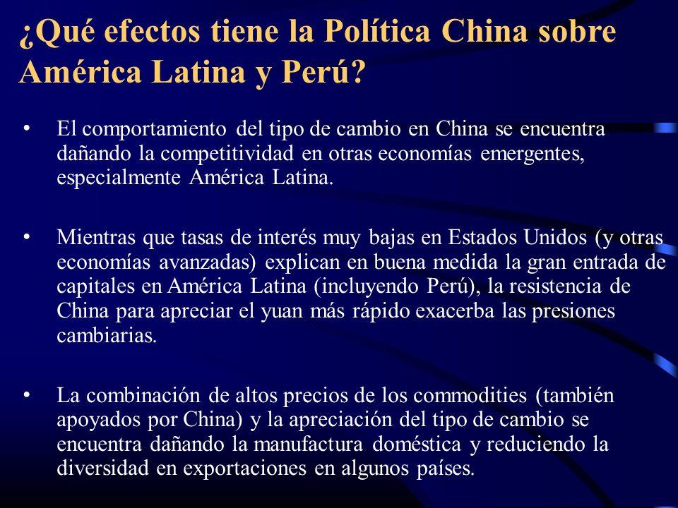 ¿Qué efectos tiene la Política China sobre América Latina y Perú? El comportamiento del tipo de cambio en China se encuentra dañando la competitividad