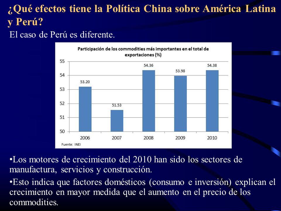 ¿Qué efectos tiene la Política China sobre América Latina y Perú? El caso de Perú es diferente. Los motores de crecimiento del 2010 han sido los secto