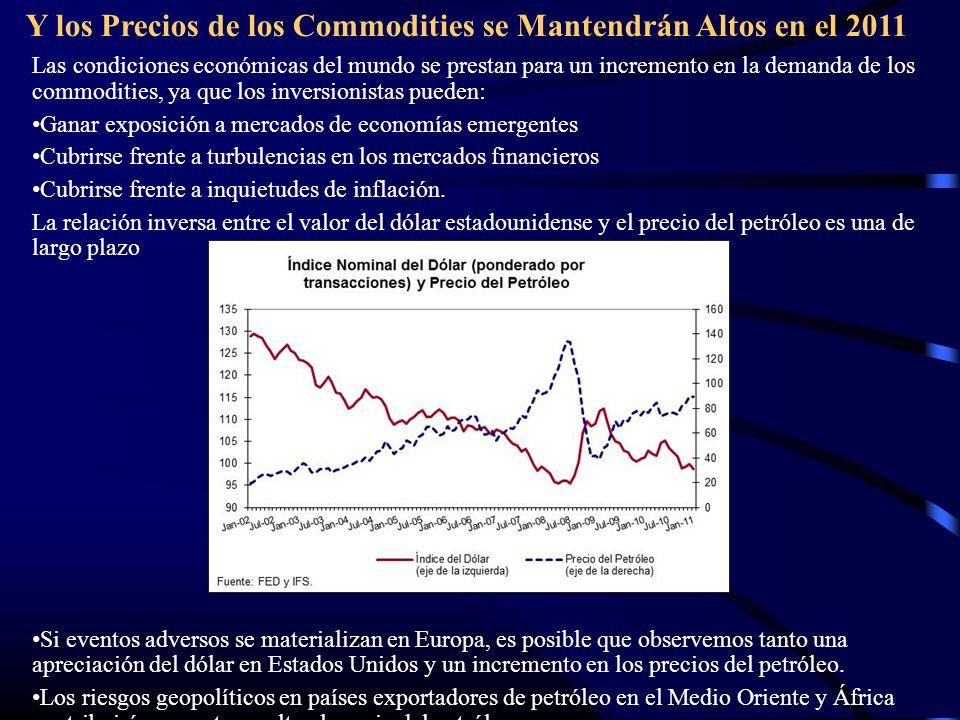 Y los Precios de los Commodities se Mantendrán Altos en el 2011 Las condiciones económicas del mundo se prestan para un incremento en la demanda de lo