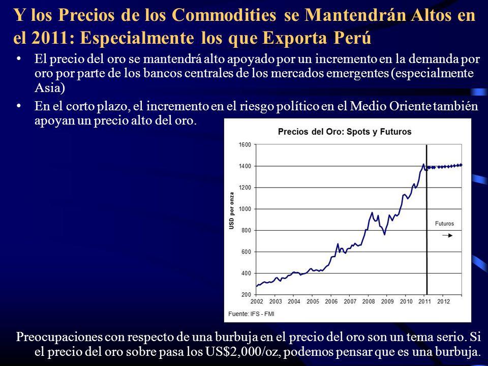 Y los Precios de los Commodities se Mantendrán Altos en el 2011: Especialmente los que Exporta Perú El precio del oro se mantendrá alto apoyado por un incremento en la demanda por oro por parte de los bancos centrales de los mercados emergentes (especialmente Asia) En el corto plazo, el incremento en el riesgo político en el Medio Oriente también apoyan un precio alto del oro.