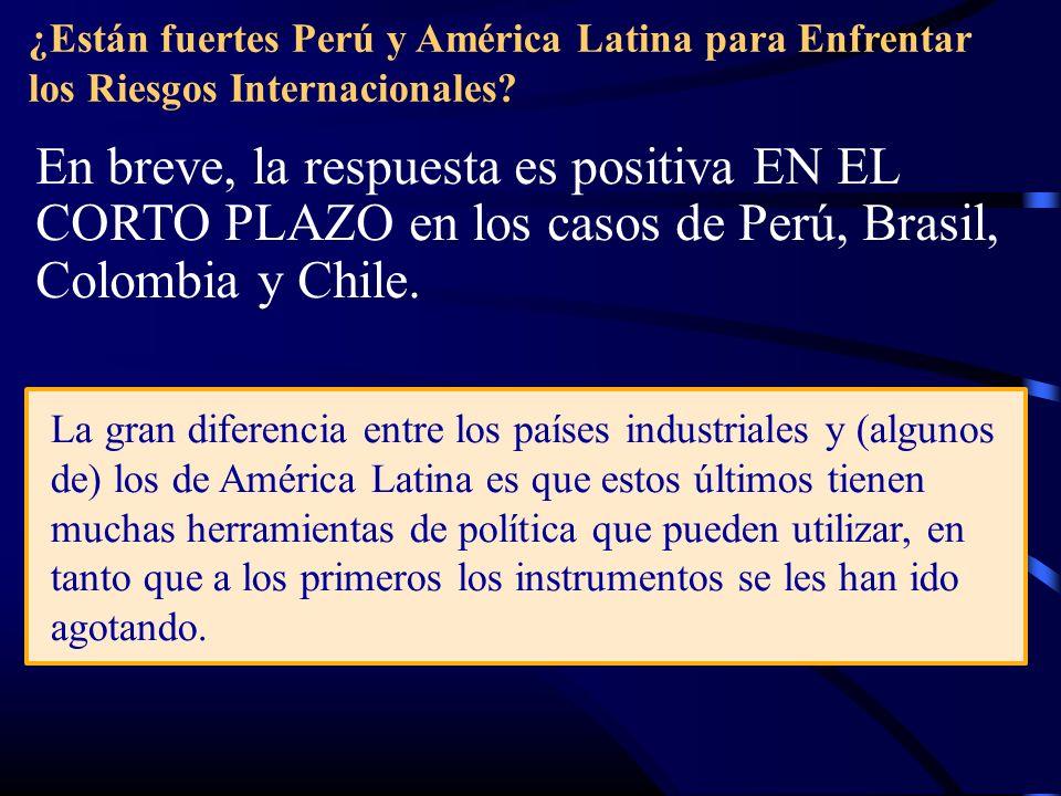 ¿Están fuertes Perú y América Latina para Enfrentar los Riesgos Internacionales? En breve, la respuesta es positiva EN EL CORTO PLAZO en los casos de