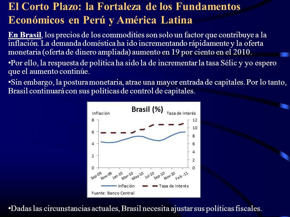 El Corto Plazo: la Fortaleza de los Fundamentos Económicos en Perú y América Latina En Brasil, los precios de los commodities son solo un factor que contribuye a la inflación.