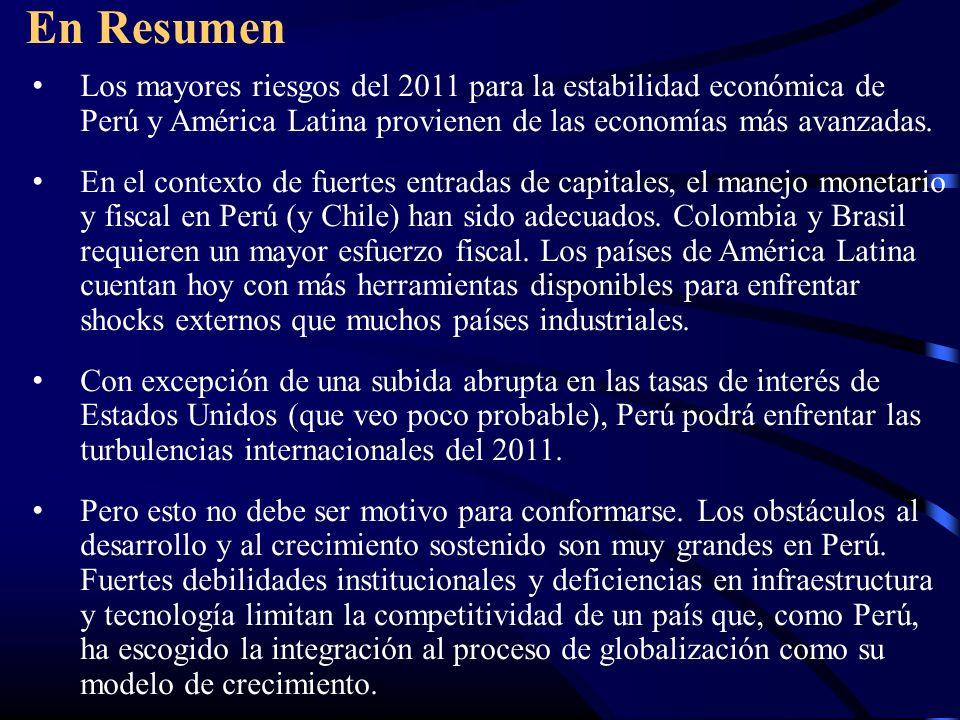 En Resumen Los mayores riesgos del 2011 para la estabilidad económica de Perú y América Latina provienen de las economías más avanzadas.