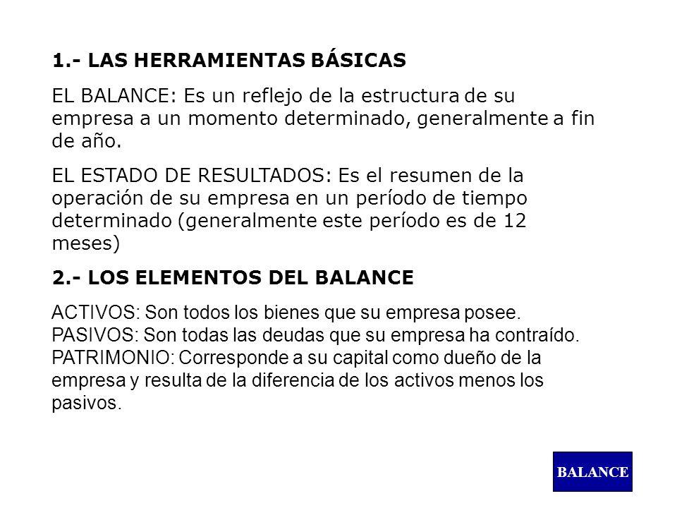 1.- LAS HERRAMIENTAS BÁSICAS EL BALANCE: Es un reflejo de la estructura de su empresa a un momento determinado, generalmente a fin de año. EL ESTADO D