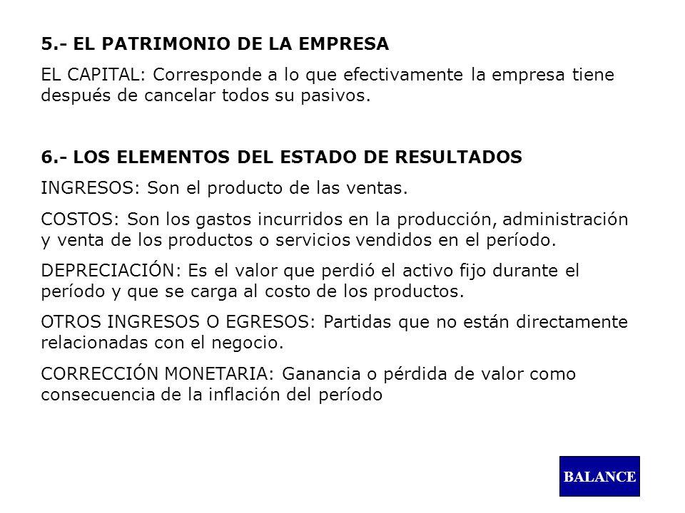 5.- EL PATRIMONIO DE LA EMPRESA EL CAPITAL: Corresponde a lo que efectivamente la empresa tiene después de cancelar todos su pasivos. 6.- LOS ELEMENTO