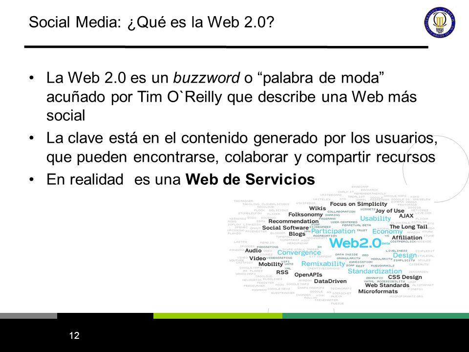 12 Social Media: ¿Qué es la Web 2.0? La Web 2.0 es un buzzword o palabra de moda acuñado por Tim O`Reilly que describe una Web más social La clave est