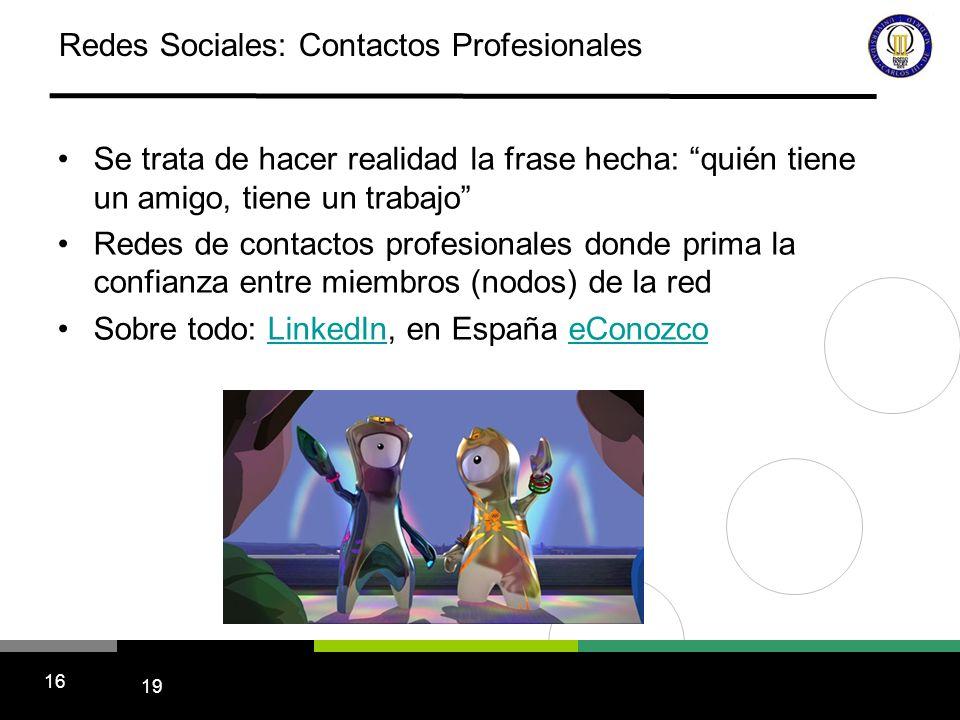 19 16 Redes Sociales: Contactos Profesionales Se trata de hacer realidad la frase hecha: quién tiene un amigo, tiene un trabajo Redes de contactos pro