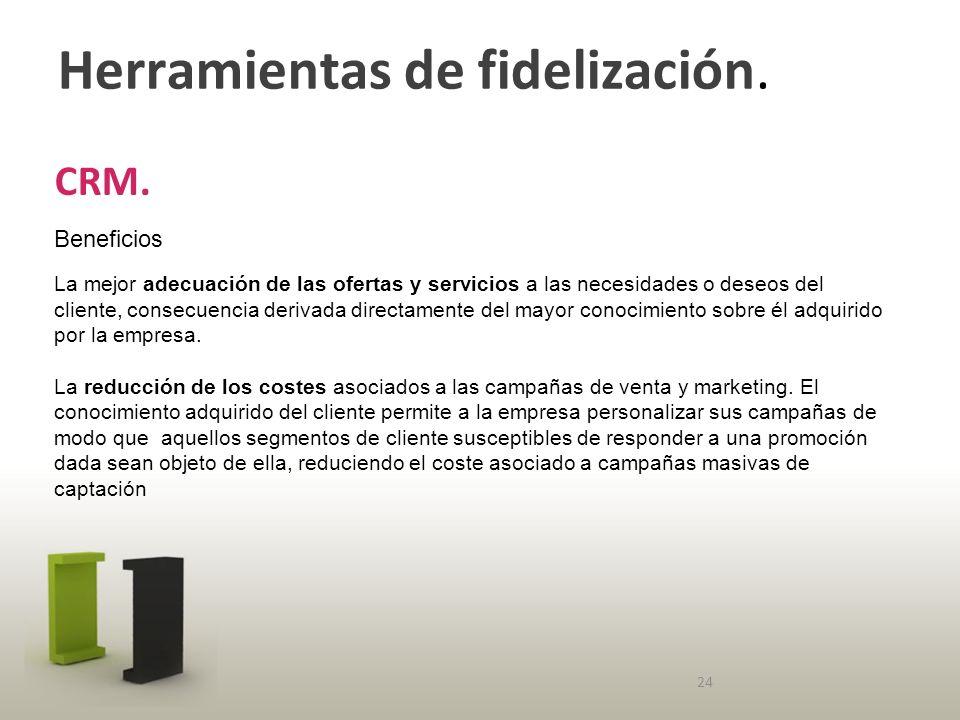 Herramientas de fidelización. CRM.