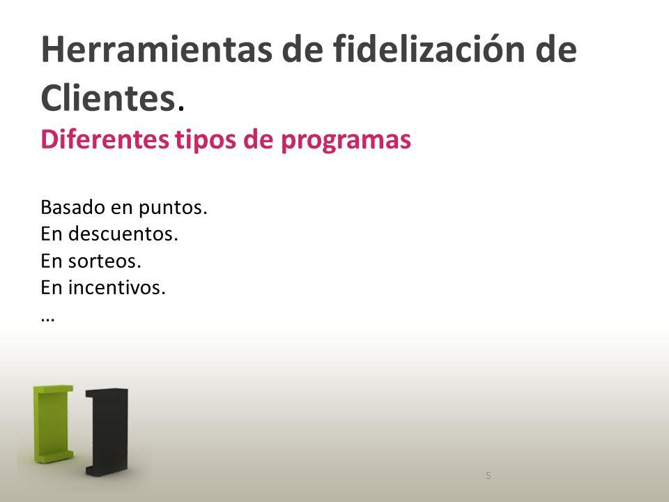 Herramientas de fidelización de Clientes. Diferentes tipos de programas Basado en puntos.