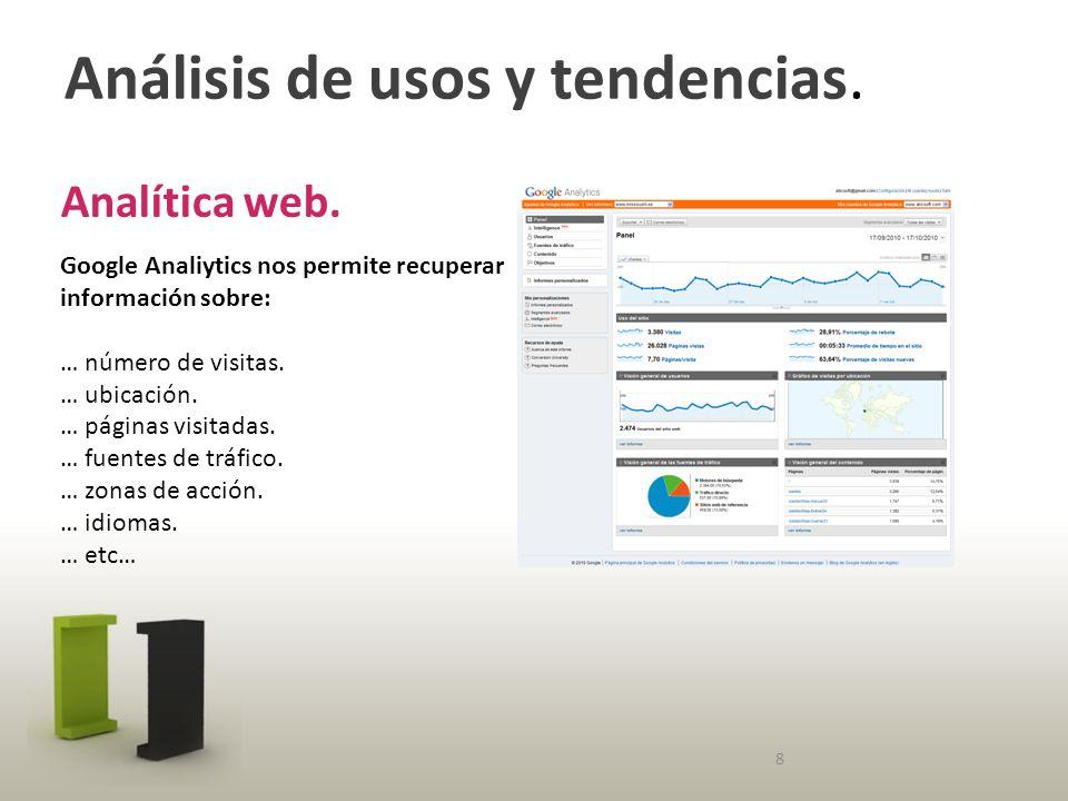 Análisis de usos y tendencias. Analítica web.