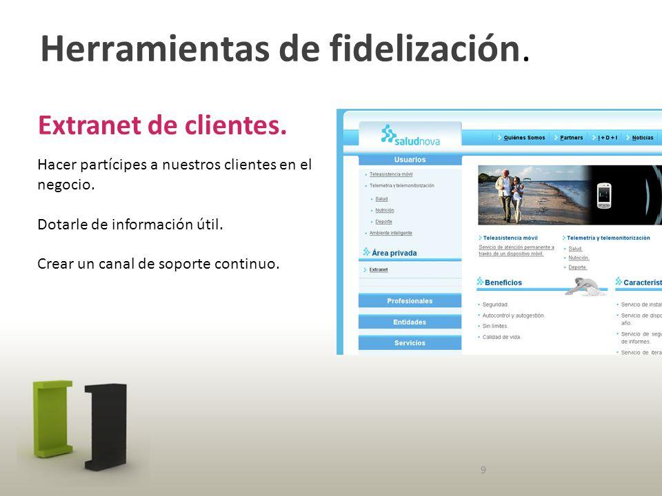 Herramientas de fidelización. Extranet de clientes.