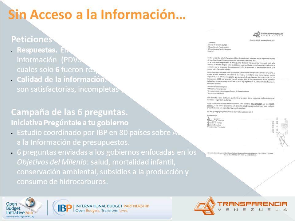 Sin Acceso a la Información… Peticiones de información Respuestas. En 2010 se entregaron 37 solicitudes de información (PDVSA, MinEnergía y Petróleo)