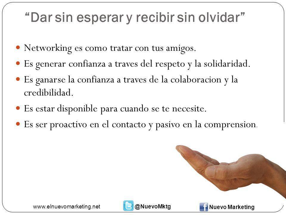 Dar sin esperar y recibir sin olvidar Networking es como tratar con tus amigos.