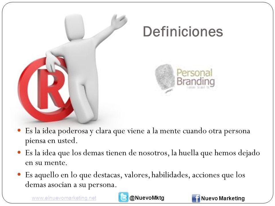 Definiciones Es la idea poderosa y clara que viene a la mente cuando otra persona piensa en usted.