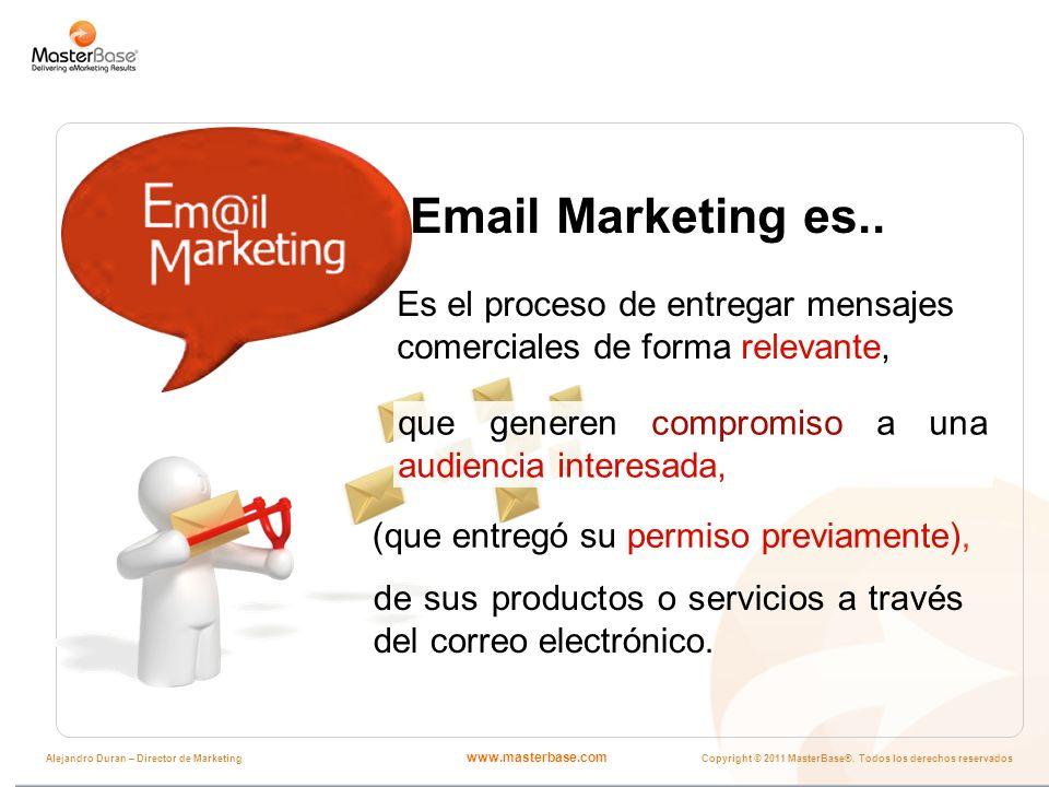 www.masterbase.com Copyright © 2011 MasterBase®. Todos los derechos reservados Alejandro Duran – Director de Marketing Email Marketing es.. Es el proc