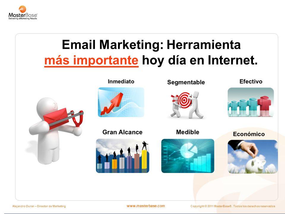 www.masterbase.com Copyright © 2011 MasterBase®. Todos los derechos reservados Alejandro Duran – Director de Marketing Email Marketing: Herramienta má