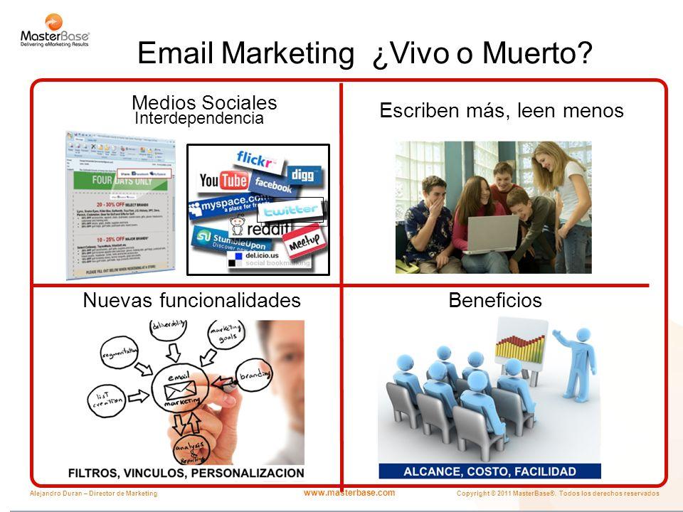 www.masterbase.com Copyright © 2011 MasterBase®. Todos los derechos reservados Alejandro Duran – Director de Marketing Email Marketing ¿Vivo o Muerto?