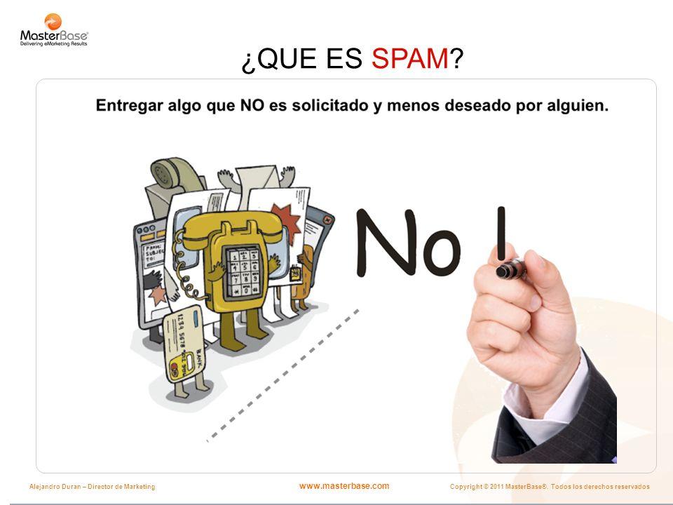 www.masterbase.com Copyright © 2011 MasterBase®. Todos los derechos reservados Alejandro Duran – Director de Marketing ¿QUE ES SPAM?