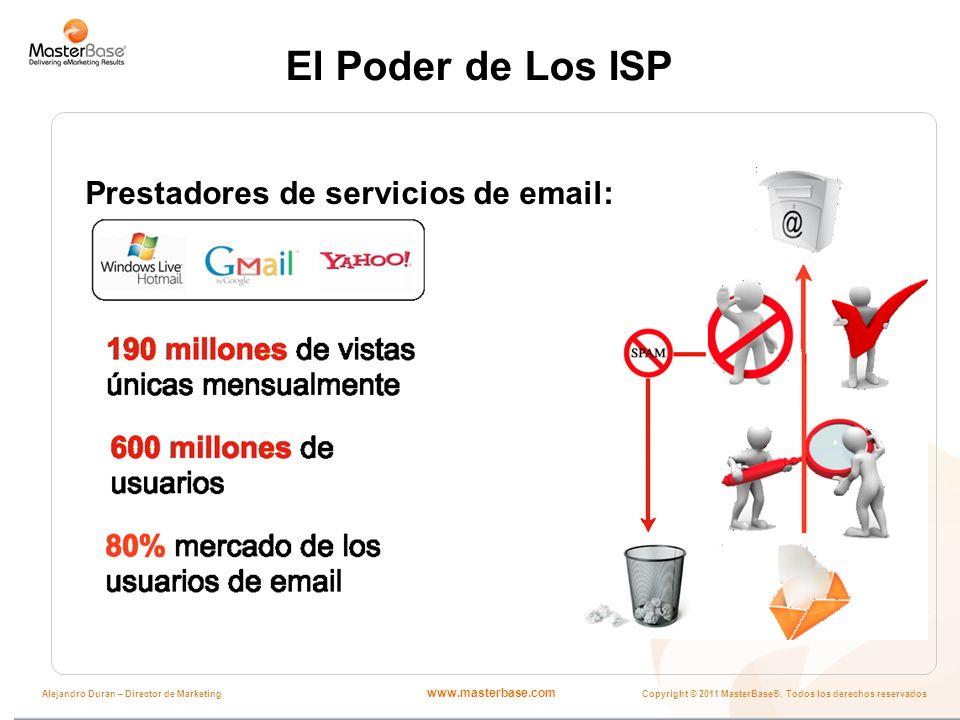 www.masterbase.com Copyright © 2011 MasterBase®. Todos los derechos reservados Alejandro Duran – Director de Marketing El Poder de Los ISP Prestadores