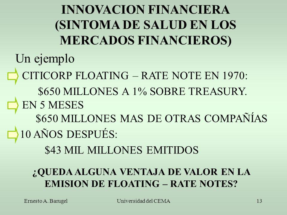 Ernesto A. BarugelUniversidad del CEMA13 INNOVACION FINANCIERA (SINTOMA DE SALUD EN LOS MERCADOS FINANCIEROS) Un ejemplo CITICORP FLOATING – RATE NOTE