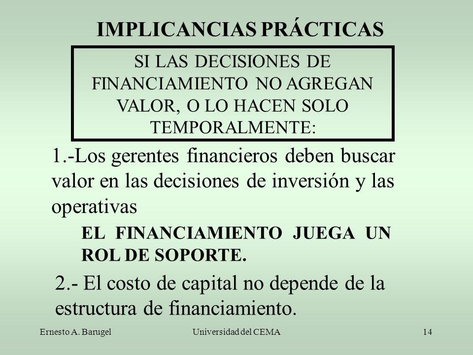 Ernesto A. BarugelUniversidad del CEMA14 IMPLICANCIAS PRÁCTICAS SI LAS DECISIONES DE FINANCIAMIENTO NO AGREGAN VALOR, O LO HACEN SOLO TEMPORALMENTE: 1