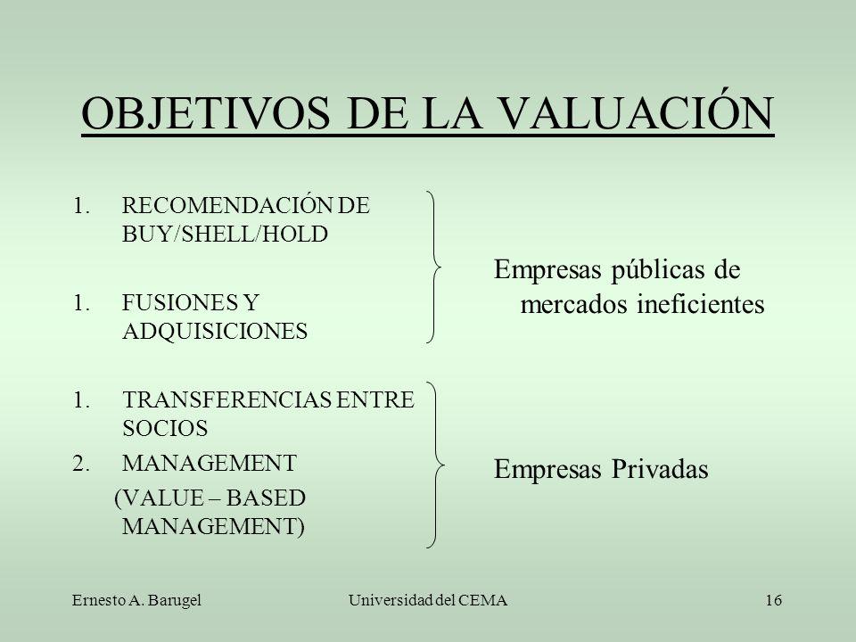 Ernesto A. BarugelUniversidad del CEMA16 OBJETIVOS DE LA VALUACIÓN 1.RECOMENDACIÓN DE BUY/SHELL/HOLD 1.FUSIONES Y ADQUISICIONES 1.TRANSFERENCIAS ENTRE