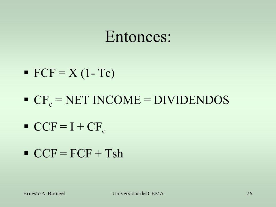 Ernesto A. BarugelUniversidad del CEMA26 Entonces: FCF = X (1- Tc) CF e = NET INCOME = DIVIDENDOS CCF = I + CF e CCF = FCF + Tsh